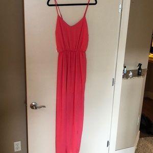 Coral colored maxi dress